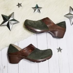 Dansko Clogs green suede flowers brown heeled